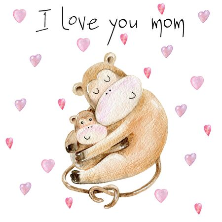 Baby shower cards. Watercolor monkey mom and baby Stockfoto - 130788152
