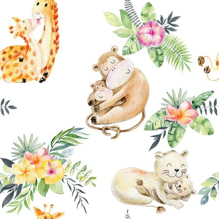 Seamless pattern. Watercolor animals mom and babies Stockfoto - 130788157