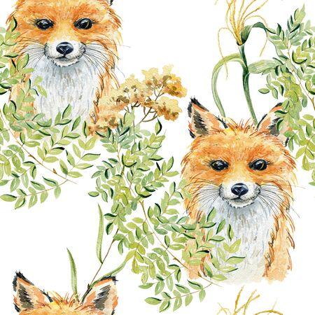 Fox watercolor illustration Stock fotó