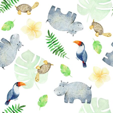 Watercolor safari animals. 스톡 콘텐츠