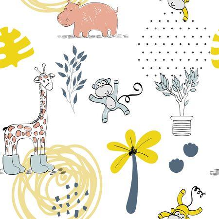 Cute safari animals. Illustration