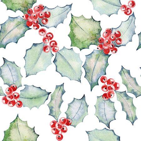 Christmas Holly Watercolor Stock fotó