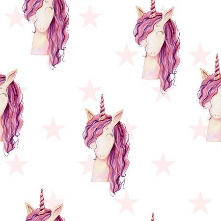 Watercolor cute unicorn
