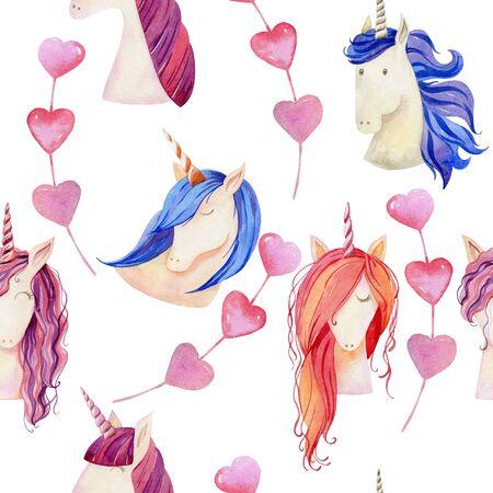 Watercolor cute unicorns Reklamní fotografie