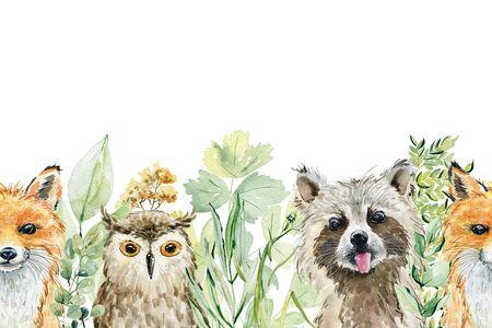 Animals watercolor illustration
