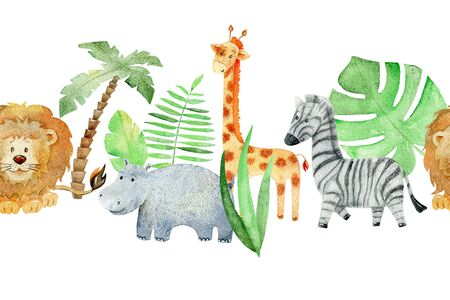 Watercolor safari animals. Banco de Imagens