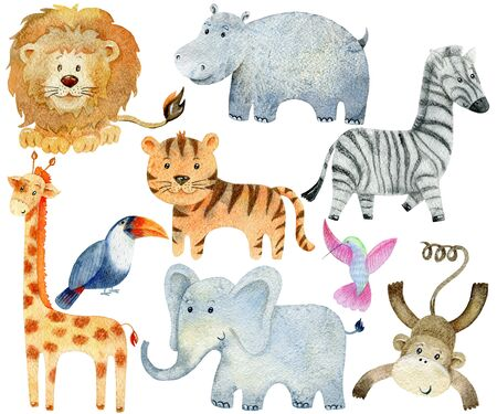 Safari Animals Set. Watercolor Illustration. Cute cartoon characters.