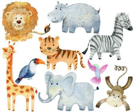 Safari Animals Set. Watercolor Illustration. Cute cartoon characters.