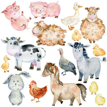 Farm Animals Set. Watercolor Illustration. Cute cartoon characters.