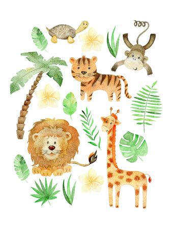 Watercolor arrangements with safari animals. Exotic decoration on a white background.