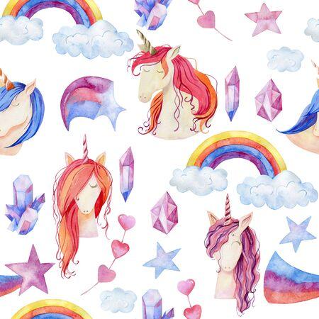 Watercolor cute unicorns Stock fotó