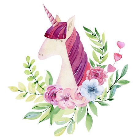 Watercolor cute unicorn