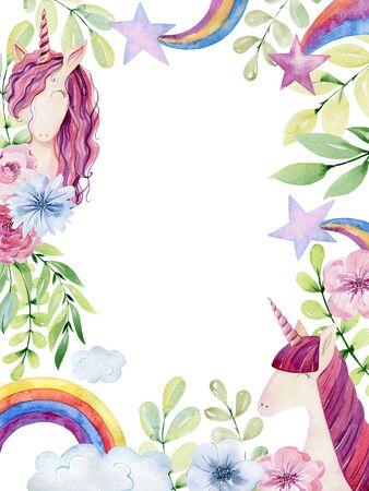 Watercolor cute unicorn illustration. Magical fantasy character.