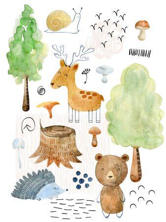 Arrangiamenti ad acquerello con animali della foresta. Decorazione del bosco su sfondo bianco.