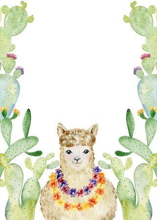 Hand drawn card with llama and cactuses. Фото со стока