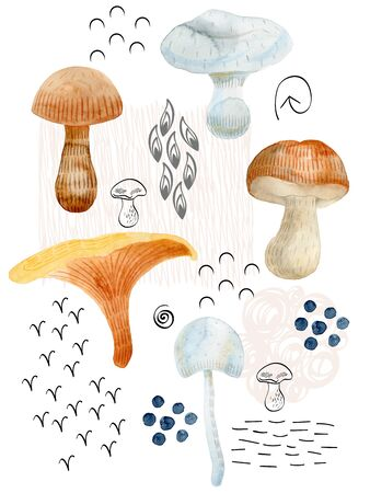 Watercolor woodland arrangements.