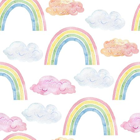 Seamless pattern with rainbows.