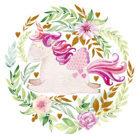 watercolor arrangement with unicorn.