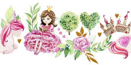 Watercolor seamless border with fairy tale