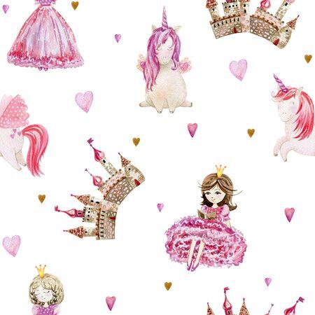 Watercolor seamless pattern fairytale Фото со стока