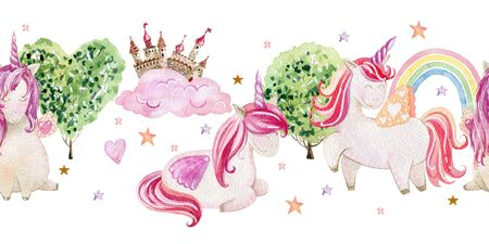 Watercolor cute unicorns Фото со стока