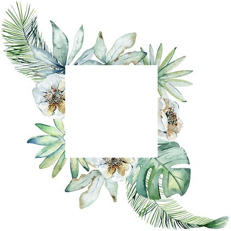 Floral illustration. Watercolor frame with tropical leaves. Фото со стока