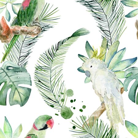 Tropical watercolor seamless pattern with parrot and leaves.
