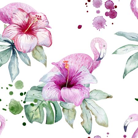Watercolor tropical seamless pattern with flamingo and tropical leaves.