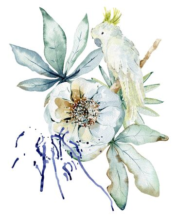 Tropical watercolor illustration with parrot, leaves and flowers. Фото со стока