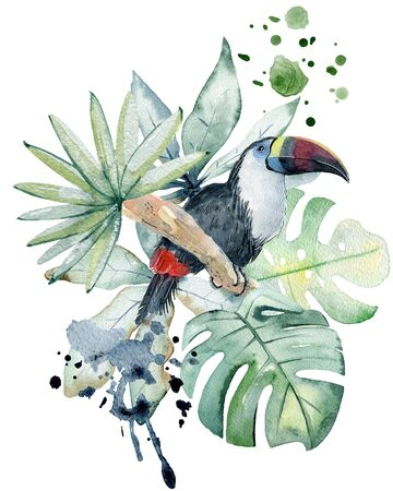 Tropical watercolor illustration with parrot and leaves.
