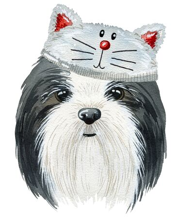 Dog watercolor illustration