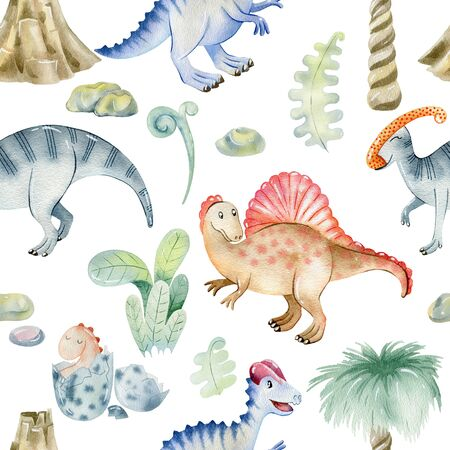 Watercolor cute dinosaurs. 版權商用圖片