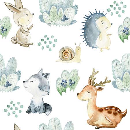 Watercolor woodland pattern. Stok Fotoğraf
