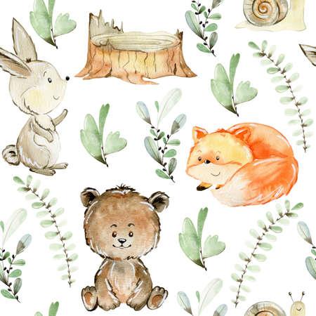 Watercolor forest pattern. Stok Fotoğraf