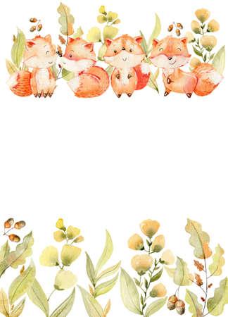 Watercolor woodland card. Stok Fotoğraf