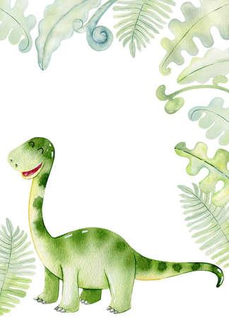Watercolor cute dinosaur.