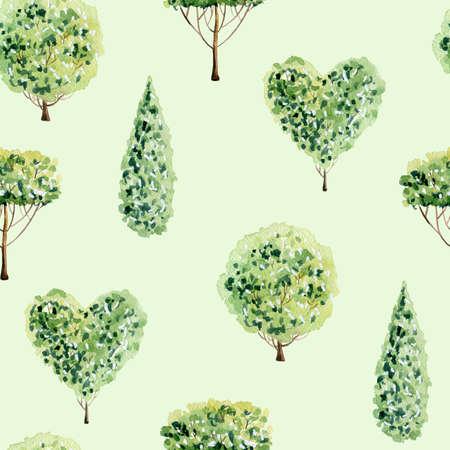 Watercolor tree pattern.