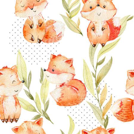 Watercolor fox pattern. Reklamní fotografie - 154264177