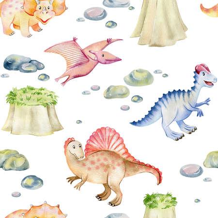 Watercolor cute dinosaurs. Stok Fotoğraf