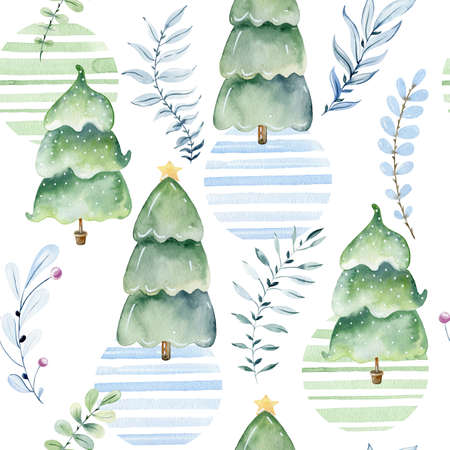 Watercolor forest pattern. Banque d'images
