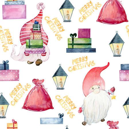 Christmas watercolor gnomes