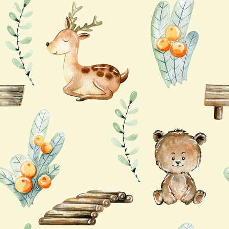 Watercolor forest pattern. Reklamní fotografie