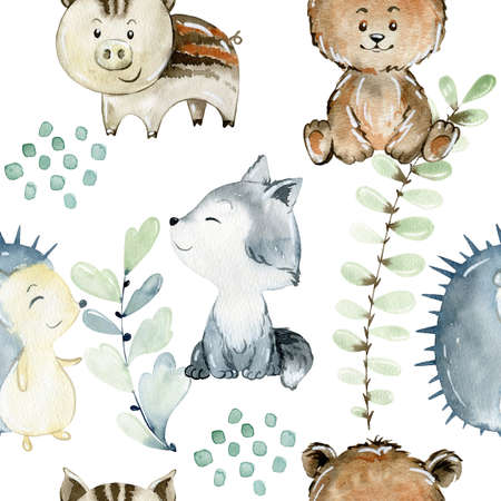 Watercolor woodland pattern. Banque d'images