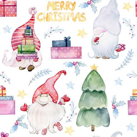 Christmas watercolor gnomes Reklamní fotografie - 156971474