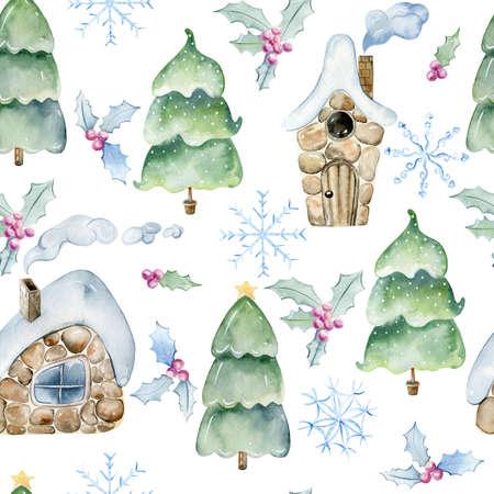 Watercolor winter pattern.
