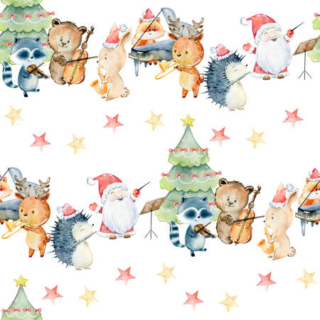 Watercolor christmas pattern.