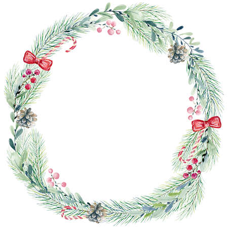 Watercolor christmas wreath.
