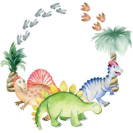 Watercolor cute dinosaurs. 写真素材
