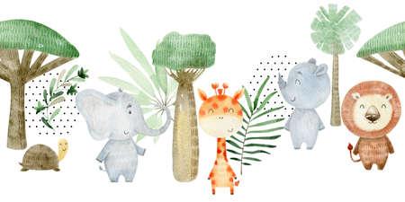 Watercolor safari animals. 写真素材