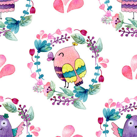 Watercolor seamless pattern with owls.